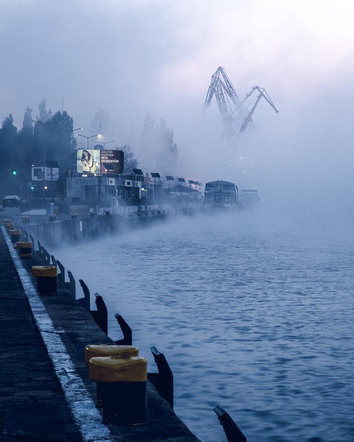 Szczecin nabrzeże mgła